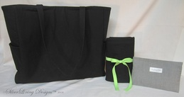 Cross-Hatch Black 3 Piece Diaper Bag